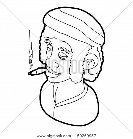 Rastafarian man wearing headband and smoking icon in outline style on a white background vector illustration