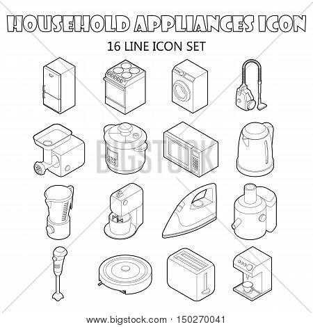 Household appliance icons set in outline style. Consumer electronics set collection vector illustration