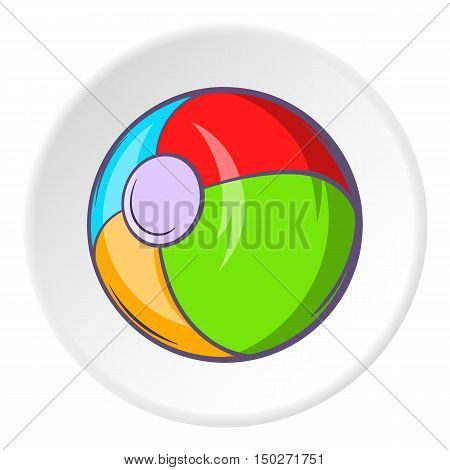 Childrens ball icon in cartoon style isolated on white circle background. Childrens toy symbol vector illustration