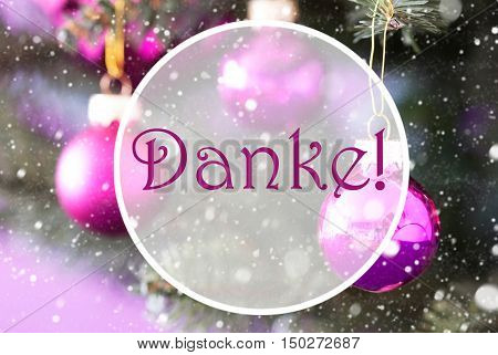 Christmas Tree With Rose Quartz Balls. Close Up Or Macro View. Christmas Card For Seasons Greetings. Snowflakes For Winter Atmosphere. German Text Danke Means Thank You