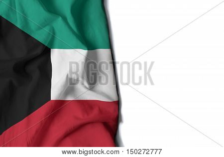 Kuwait Wrinkled Flag, Space For Text