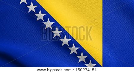 Bosnian and Herzegovinian national official flag. Patriotic symbol banner element background. Correct size colors. Flag of Bosnia and Herzegovina waving in the wind with detailed fabric texture, 3d illustration