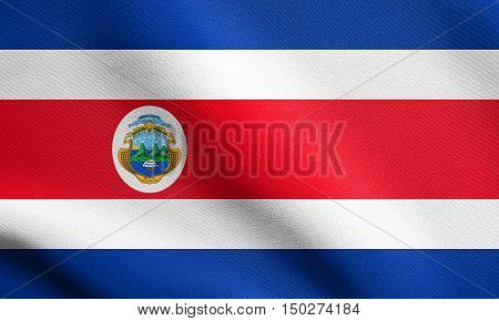 Costa Rican national official flag. Patriotic symbol banner element background. Accurate dimensions. Correct size colors. Flag of Costa Rica waving in the wind with detailed fabric texture, 3d illustration
