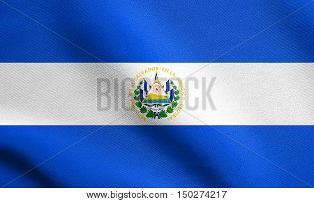 Salvadoran national official flag. Patriotic symbol banner element background. Accurate dimensions. Correct size colors. Flag of El Salvador waving in the wind with detailed fabric texture, 3d illustration