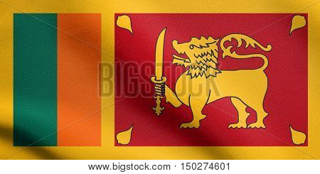 Sri Lankan national official flag. Patriotic symbol banner element background. Accurate dimensions. Correct size colors. Flag of Sri Lanka waving in the wind with detailed fabric texture, 3d illustration