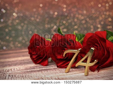 birthday concept with red roses on wooden desk. 3D render - seventy-fourth birthday. 74rd