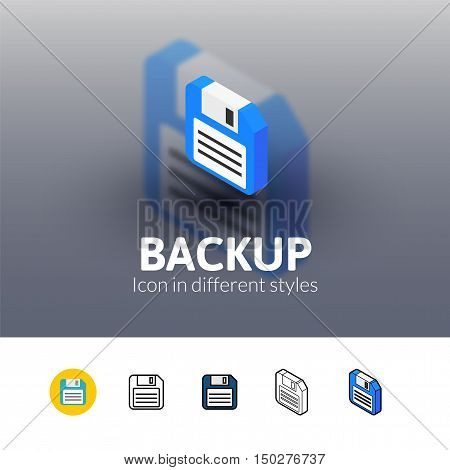 Backup color icon, vector symbol in flat, outline and isometric style isolated on blur background