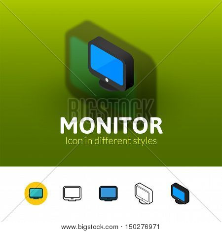 Monitor color icon, vector symbol in flat, outline and isometric style isolated on blur background