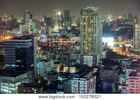 Asian Downtown Night Scene, Beautiful Modern Buildings, Bright Glowing Lights