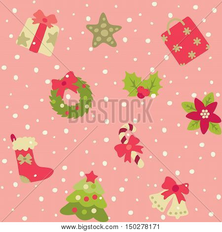 Christmas pattern. Vector seamless backgrpund with  Christmas  decorations at retro style.