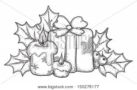 Christmas icon. Vector hand drawn of christmas decorations isolated on white background