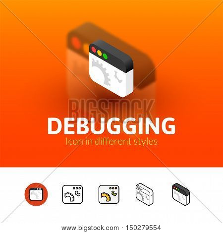 Debugging color icon, vector symbol in flat, outline and isometric style isolated on blur background