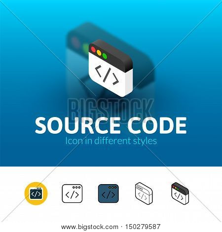 Source code color icon, vector symbol in flat, outline and isometric style isolated on blur background