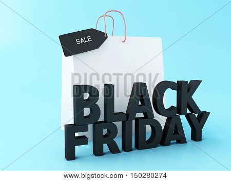 3d Illustration. Black friday with shopping bag. Black friday sale concept.
