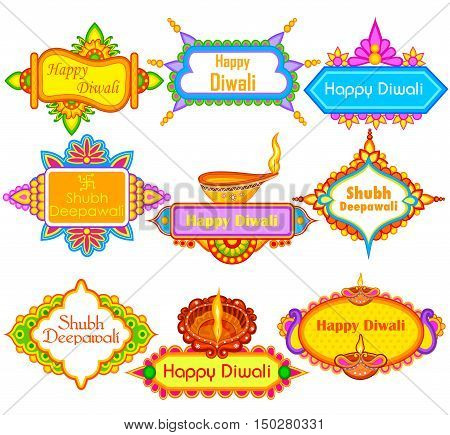 easy to edit vector illustration of collection of decorated diya for Happy Diwali holiday with message meaning Happy Deepawali