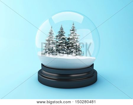 3d renderer image. Snow dome with pine trees. Christmas concept.