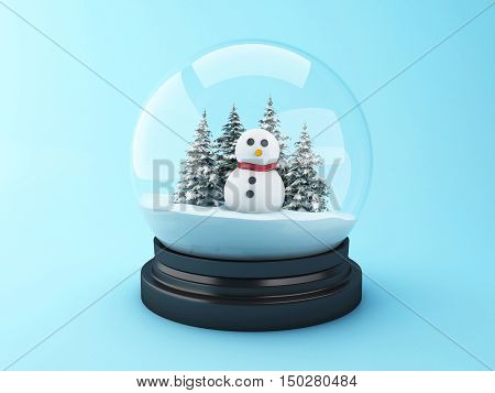 3d renderer image. Snowman in a snow dome. Christmas concept.