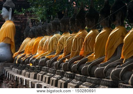 View of buddha statue in Ayudhaya Thailand