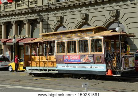 SAN FRANCISCO - MARCH 14: Antique Cable Car on Powell Street near Union Square on March 14th, 2014 in San Francisco, California, USA.