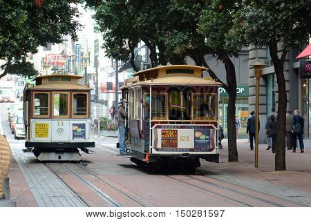 SAN FRANCISCO - MARCH 14, 2014: Antique Cable Cars on Powell Street in San Francisco, California, USA.