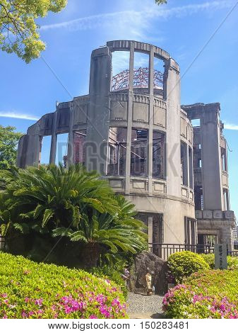 HIROSHIMA JAPAN - MAY 8 2013 : Hiroshima Peace Memorial (Atomic Bomb Dome or Genbaku Domu) in Hiroshima Japan. UNESCO World Heritage Site