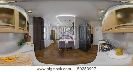 Illustration Seamless Panorama Of Living Room