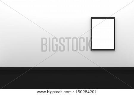 3D Rendering : illustration of three blank black photo frame hanging on white wall interior with black floor,clipping path inside frame included,for your image advertising