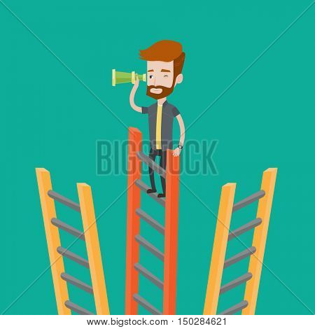 A hipster man with the beard standing on the top of a ladder and looking through spyglass. Young businessman looking for opportunities for business. Vector flat design illustration. Square layout.
