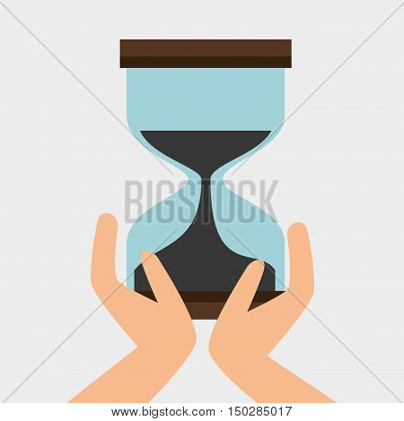 human hands holding sandclock time device. vector illustration