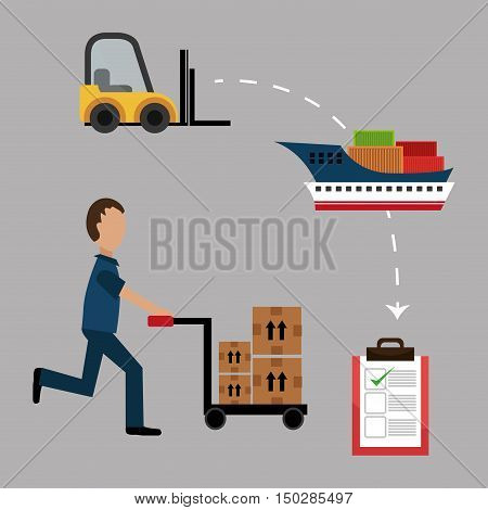 avatar man and handcart with boxes. fast delivery icon set. colorful design vector illustration