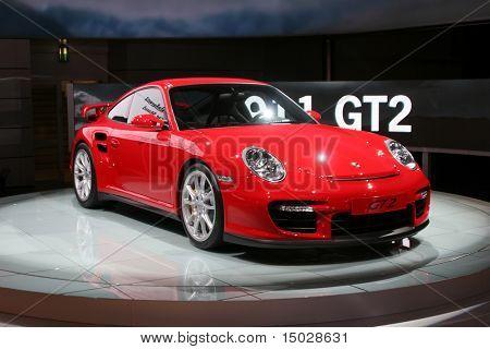 The new Porsche GT2 at the motorshow in Germany IAA 2007