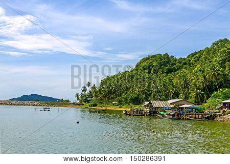 Bright sky and natural on Kram bay at beach Chumphon Provice Thailand