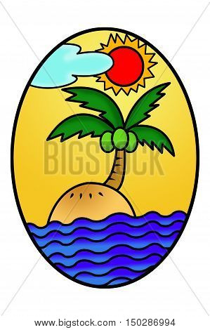 art island cartoon in ellipse illustration background
