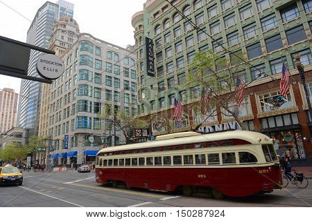 SAN FRANCISCO - MARCH 14: F-line Antique PCC streetcar No.1074 Toronto in the Financial District on March 14th, 2014 in San Francisco, California, USA.