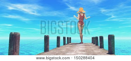Beautiful women at the end of a pontoon admiring the ocean.This is a 3d render illustration