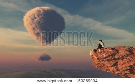 Man sits on a cliff of a mountain and watching a cloud shaped as hot air balloons. This is a 3d render illustration