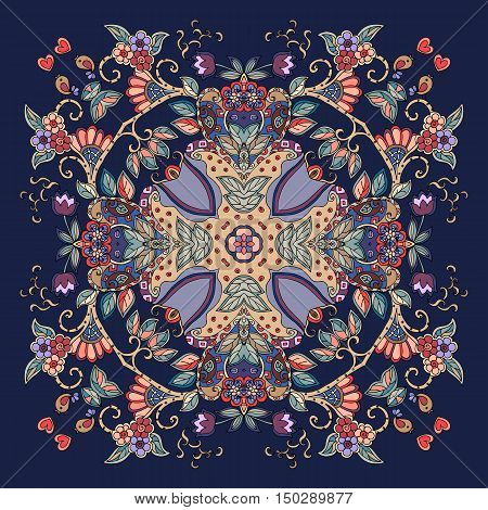 Decorative floral ornament. Can be used for cards bandana prints, kerchief design, tablecloths and napkins. Vector illustration.