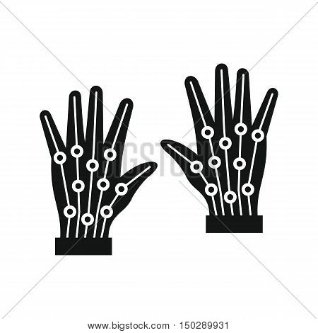 Gloves virtual reality in silhouette style. Vector illustration
