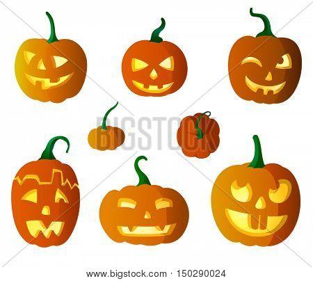 Set of pumpkins vector illustration in eps10 format