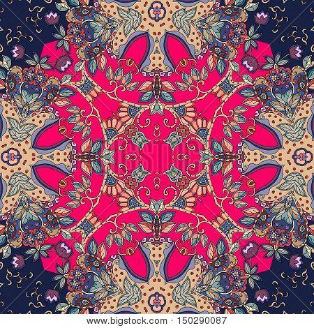 Decorative floral ornament. Bandana print or kerchief square pattern design. Lovely tablecloth. Vector illustration.