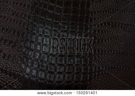 Background leatherette. Matt worn old uneven. Close-up.