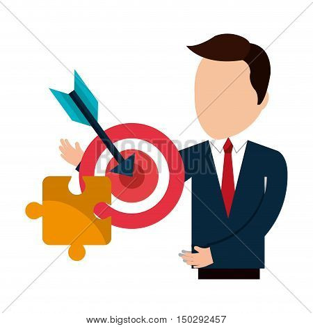 avatar businessman wearing suit and tie with red target and jigsaw yellow puzzle. vector illustration