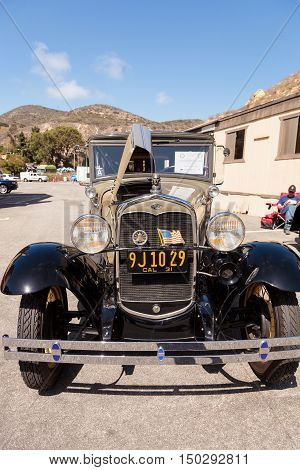 Laguna Beach, CA, USA - October 2, 2016: Tan 1929 Ford Deluxe Town Sedan owned by Dave Brobeck and displayed at the Rotary Club of Laguna Beach 2016 Classic Car Show. Editorial use.