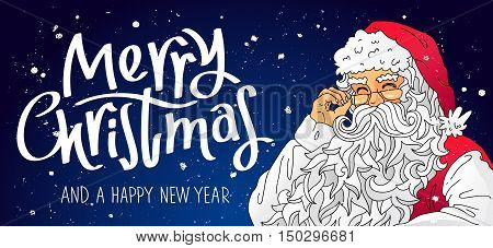 Santa Claus in a red cap. Vector illustration on a blue background. Trend calligraphy. Elements for design. Great holiday gift card. Merry Christmas and happy new year.