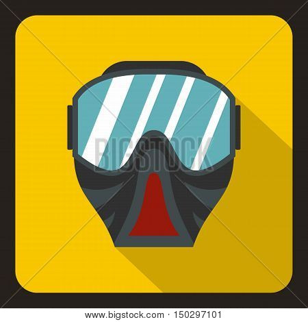 Paintball mask icon in flat style on a yelllow background vector illustration