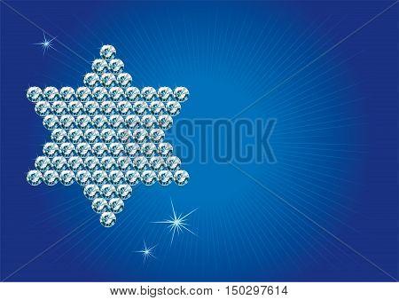 Star of David. Jewish religious symbol 6-corners David Star made of diamonds on red  background