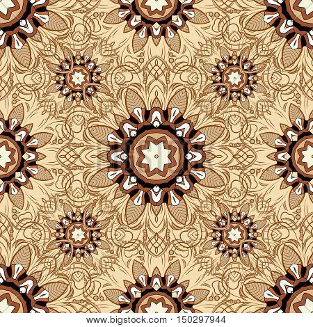 Seamless pattern with Mandalas. Vector ornaments background. Brown. Beige.