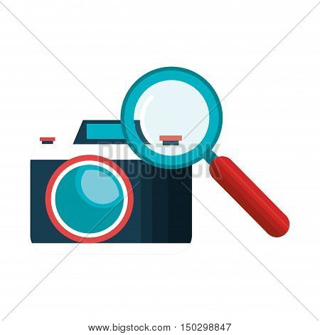 photographic camera device and magnifying glass icon. vector illustration