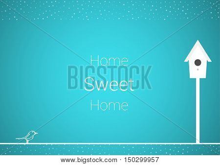Birth and his house white silhouettes as a symbol of happy family and happy home on blue background. Illustration contains text: Home Sweet Home