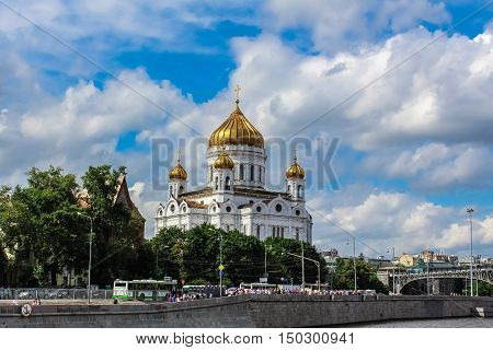 Moscow Russia - June 19 2013: Beautiful view of the Moskow - river at the Cathedral of Christ the Savior in Moscow